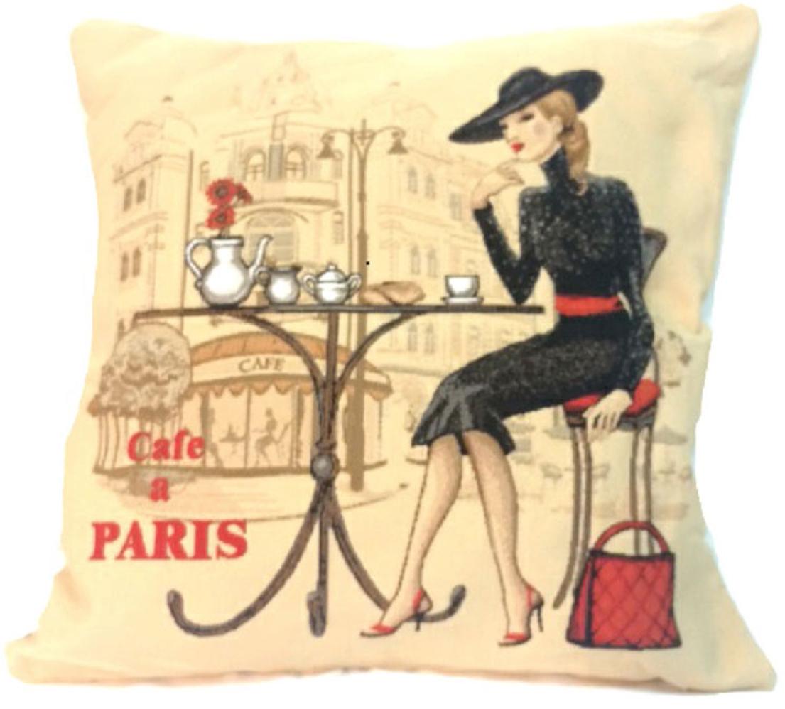 Подушка декоративная Рапира Кафе Париж. Блондинка, 45 х 45 см4381Декоративная подушка с наполнителем холлофайбер со съёмным чехлом на молнии, выполненным из жаккарда, - это яркий штрих в интерьере комнаты. Лицевая сторона - гобелен (жаккардовое ткачество), оборотная сторона -однотонная ткань типа плюш.