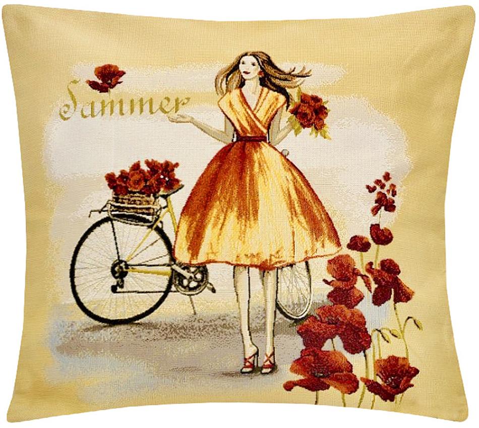 Подушка декоративная Рапира Леди лето, 45 х 45 см5194Декоративная подушка с наполнителем холлофайбер со съёмным чехлом намолнии, выполненным из жаккарда, - это яркий штрих в интерьере комнаты.Лицевая сторона - гобелен (жаккардовое ткачество), оборотная сторона - однотонная ткань типа плюш.