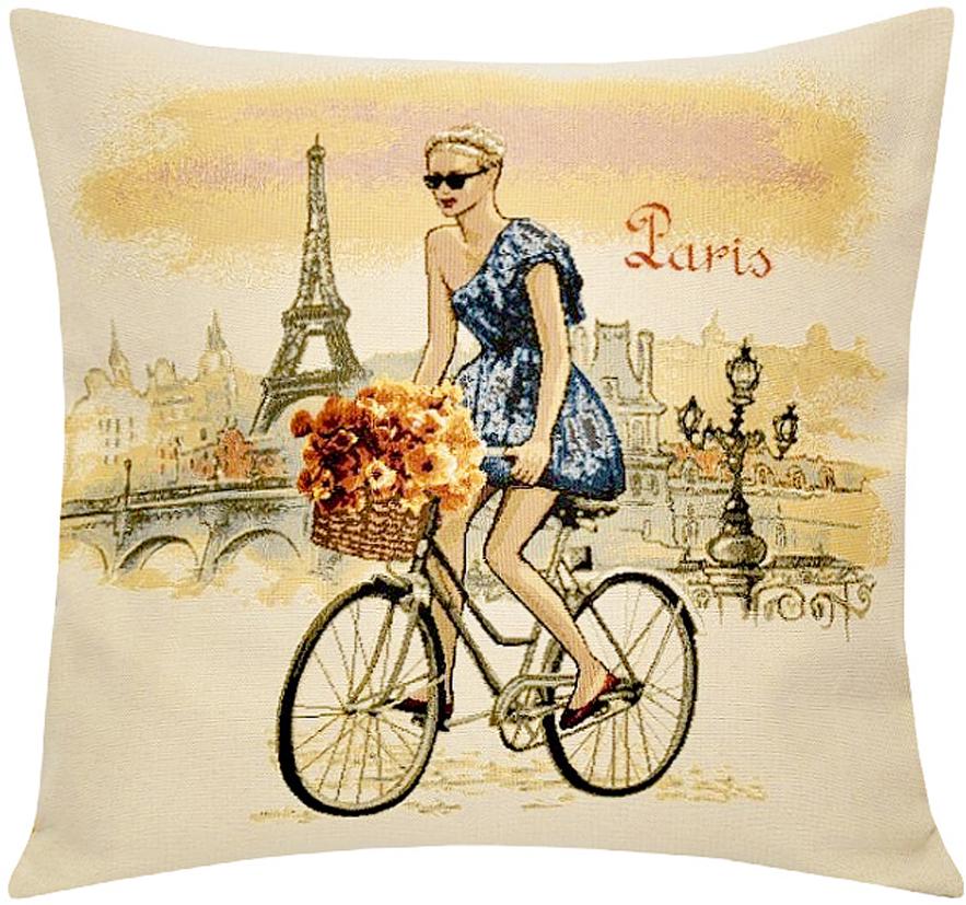 Подушка декоративная Рапира Леди. Париж, 45 х 45 см5233Декоративная подушка с наполнителем холлофайбер со съёмным чехлом намолнии, выполненным из жаккарда, - это яркий штрих в интерьере комнаты.Лицевая сторона - гобелен (жаккардовое ткачество), оборотная сторона - однотонная ткань типа плюш.