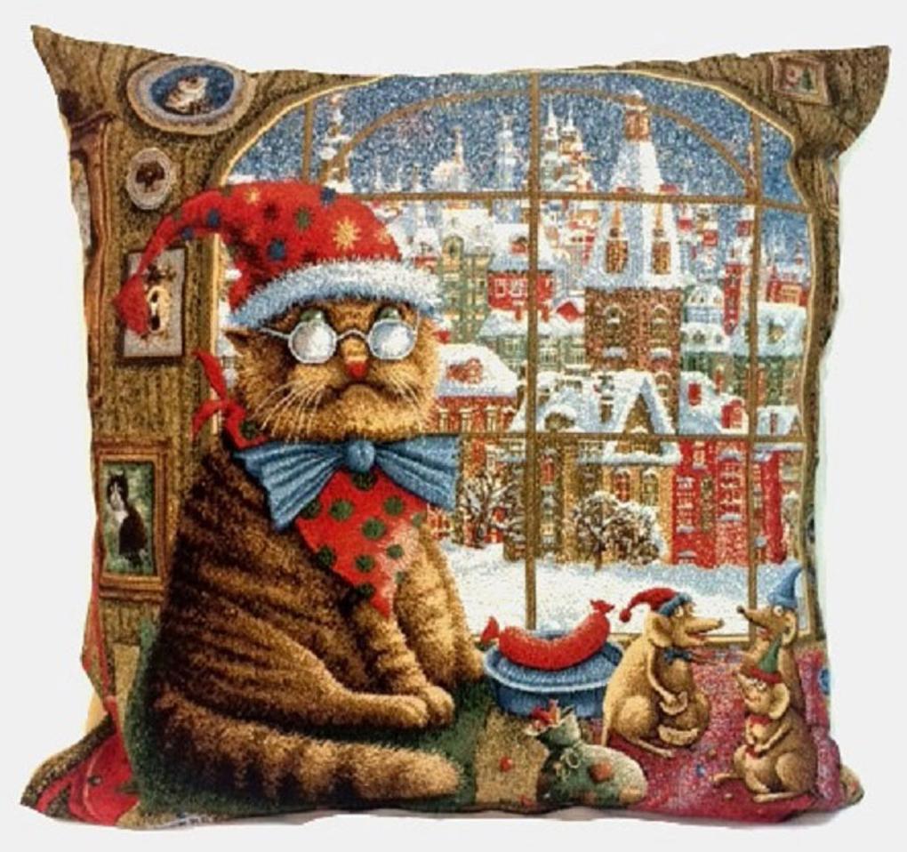 Подушка декоративная Рапира Кот и мыши, 45 х 45 см рапира венок нежность круглая 50 см гобеленовая салфетка