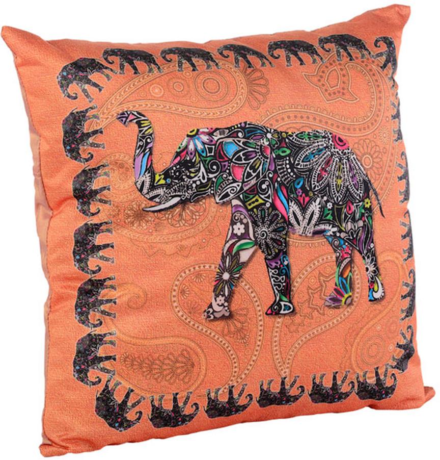 Подушка декоративная Gift'n'Home Слон, цвет: оранжевый, 35 см х 35 см