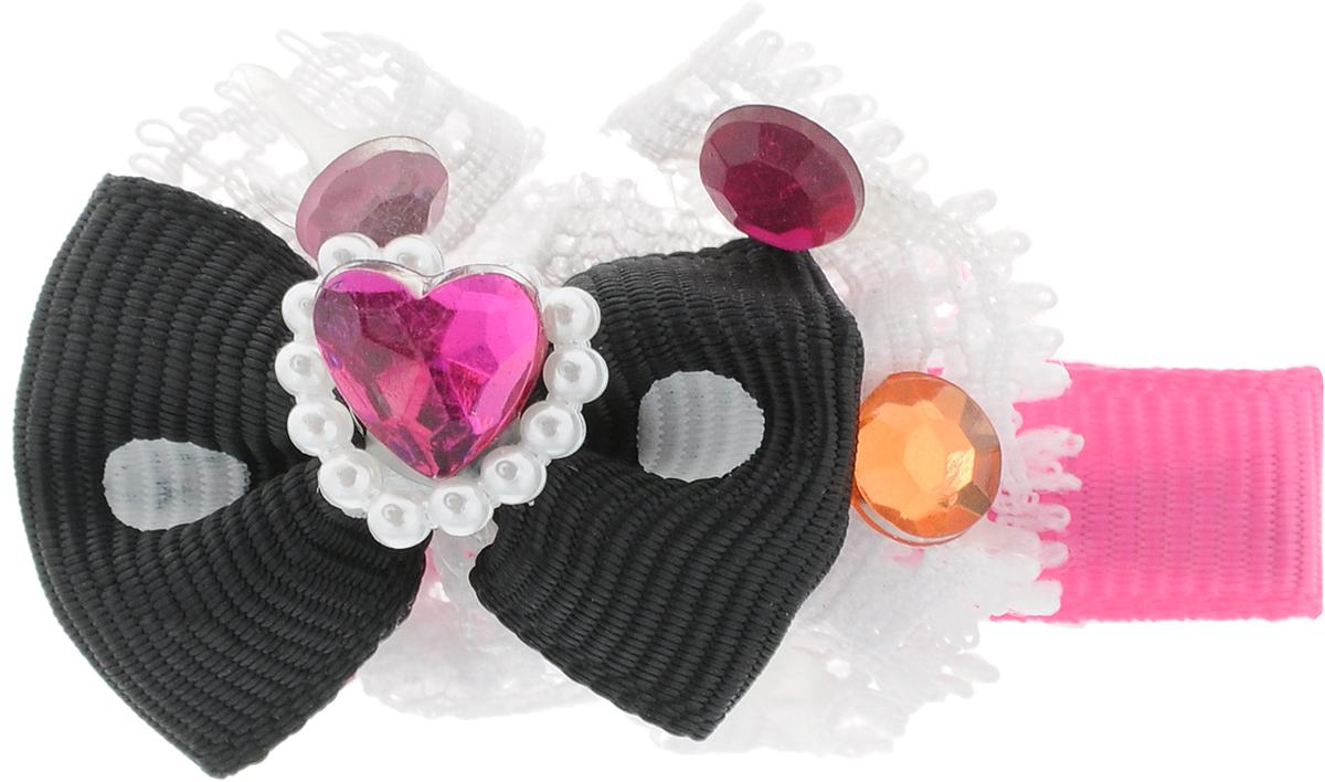 Заколка для животных Каскад Бант, с сердечком, цвет: розовый, черный, белый, 6 х 4 см игрушка для животных каскад удочка с микки маусом 47 см