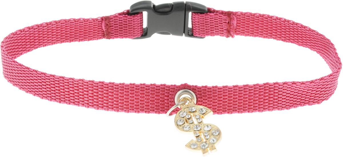 Ошейник для собак GLG Собачка, с подвеской, цвет: бордовый, размер 1 х 28 см ошейник воротника cylion 120 мл