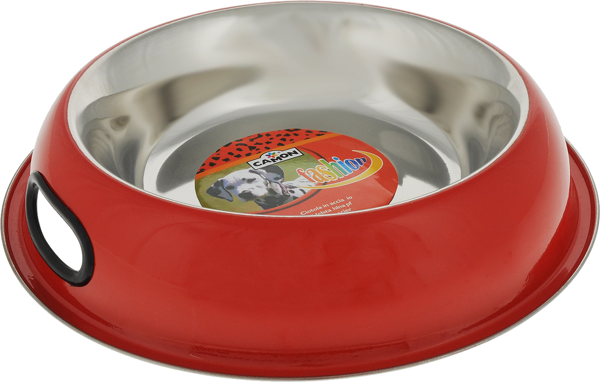 Миска для животных Camon, цвет: красный, 950 мл миска для животных vanness цвет горчичный 236 мл