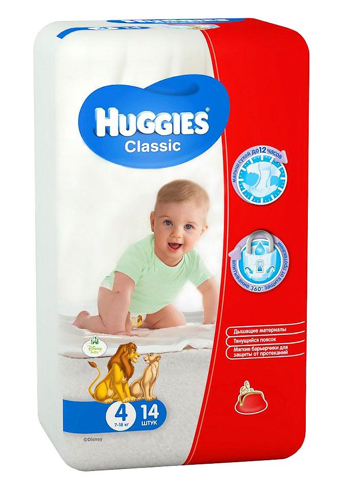 Huggies Подгузники Classic 7-18 кг (размер 4) 14 шт huggies детские влажные салфетки classic 128 шт