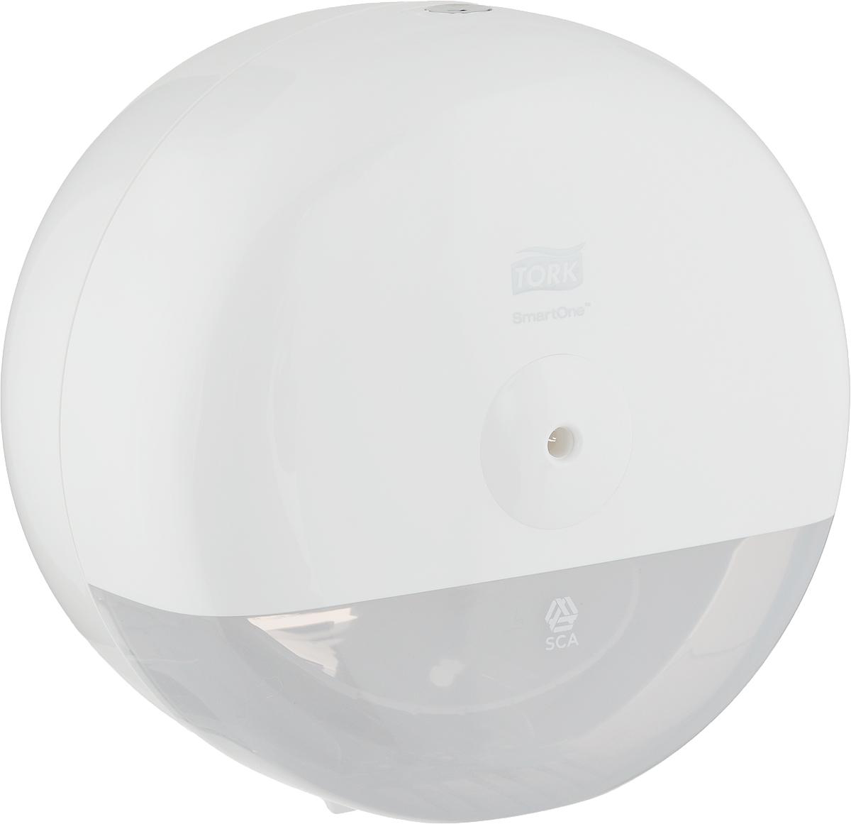 """Диспенсер для туалетной бумаги Tork """"SmartOne"""" - уникальная система, обеспечивающая гигиеничный полистовой  отбор и до 40% экономии по  сравнению с традиционными большими рулонами. Благодаря компактному размеру диспенсер Tork SmartOne  для туалетной бумаги в мини-рулонах подходит даже для маленьких кабинок. Оптимальная замена традиционной  туалетной бумаги в мини-рулонах (мини-Джамбо). Диспенсер из противоударного пластика выполнен в дизайне  серии Tork Elevation.  Диспенсер гигиеничен, потому что гости касаются руками только того листа бумаги, который они используют Надежная конструкция с металлическим замком и ключом защищает рулон и предотвращает кражи. Большая емкость сокращает время на обслуживание и гарантирует постоянное наличие бумаги.  Детали крепежа и металлический ключ в комплекте.  Размер диспенсера: 21,9 х 21,9 х 15,6 см."""