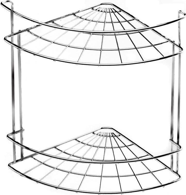 Полка для ванной комнаты Vanstore Slim, 2-ярусная, угловая, подвесная, высота 25 см полка для ванной vanstore с держателем для полотенец 60 см х 24 5 см х 18 см