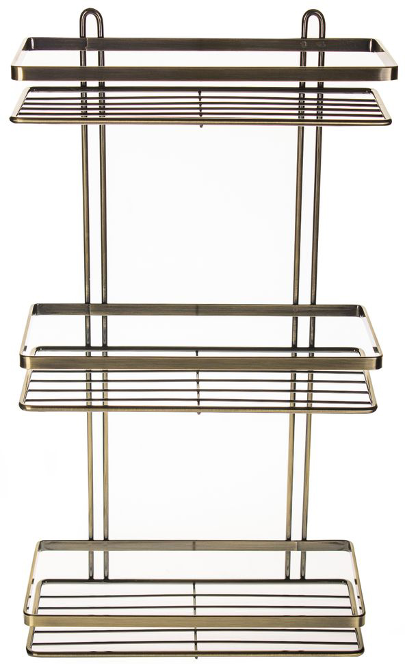 Полка для ванной комнаты Vanstore Modern, 3-ярусная, прямая, цвет: бронза, высота 46 см полка для ванной vanstore с держателем для полотенец 60 см х 24 5 см х 18 см