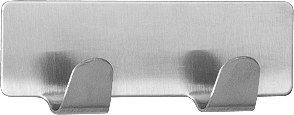 """Самоклеющаяся планка Tatkraft """"Tva"""" с двумя крючками выполнена из нержавеющей стали. Изделие надежно фиксируется и выдерживает вес до 5 кг.Размер: 8 х 2,9 см."""