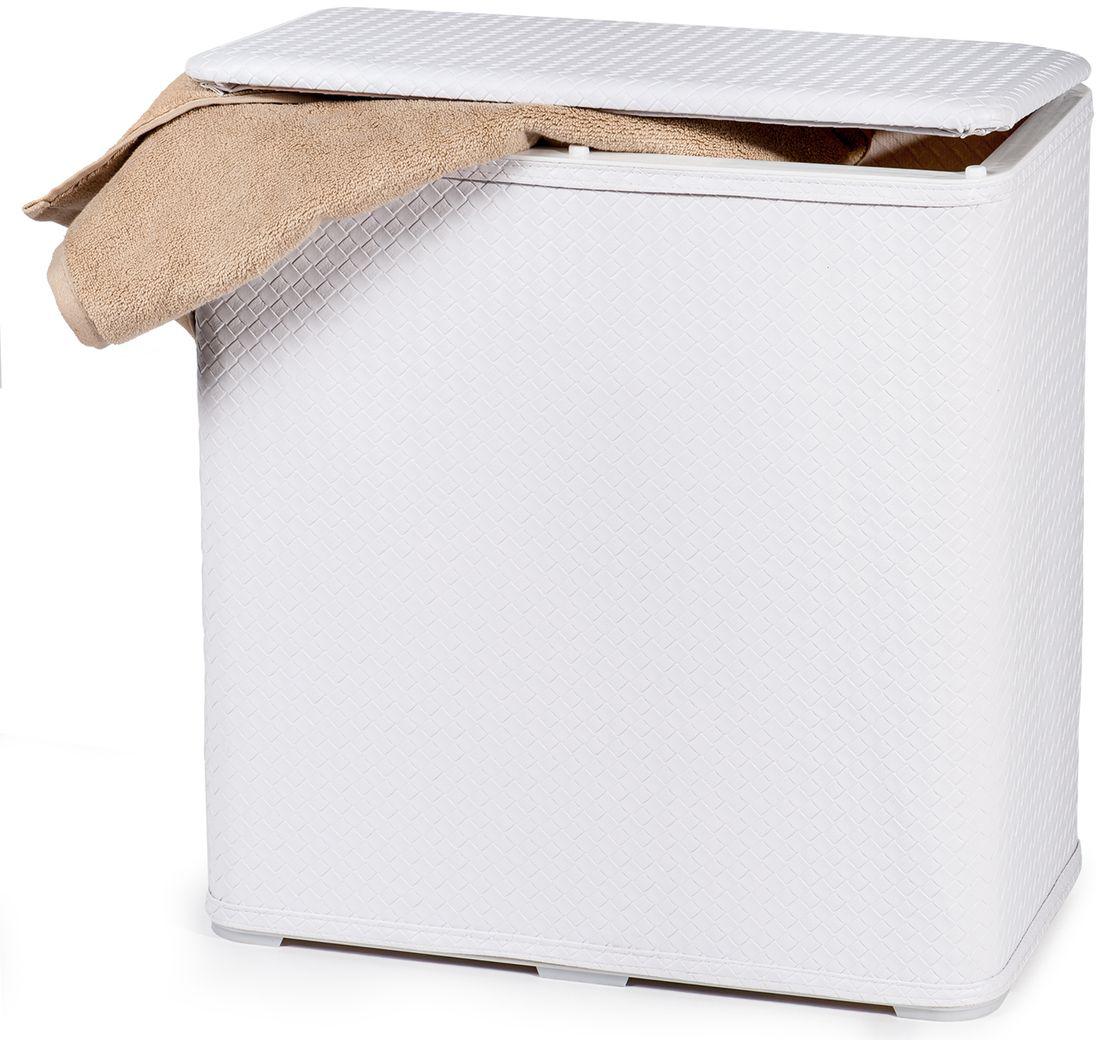"""Корзина для белья Tatkraft """"Nord""""-  это функциональная и полезная вещь, которая не только сохранит ваше белье, но и стильно украсит интерьер помещения. Корзина имеет белый чехол из легко моющегося, износостойкого, устойчивого к влаге ПВХ, каркас из АБС пластика.  Удобная крышка на петлях. Моментальная сборка, компактна в сложенном виде."""
