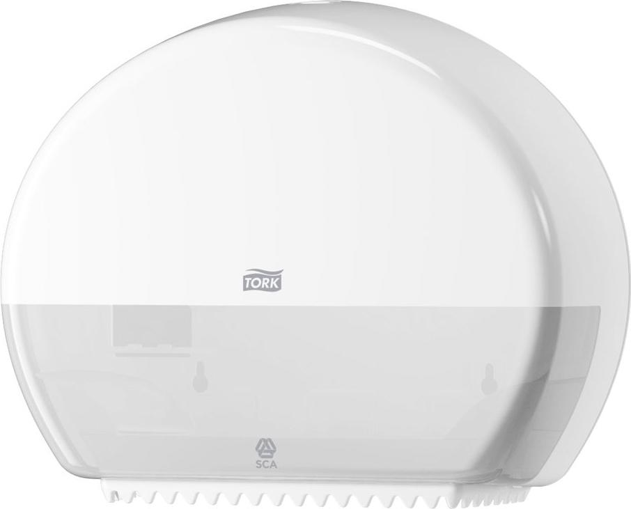 Диспенсер для туалетной бумаги Tork, цвет: белый. 555000555000Диспенсер для туалетной бумаги Tork с системой T2 предназначен для туалетной бумаги в мини рулонах. Держатель изготовлен из ударопрочного пластика белого цвета. Он предназначен для туалетных комнат средней и высокой проходимости.Вмещает 2 мини-рулона туалетной бумаги Tork Т2.Функция Stub Roll позволяет сэкономить до 35 м бумаги. Диспенсер очень компактный, емкость до 200 м. Вмещает запасной рулон.Снабжен специальными зубчиками, которые подходят для отрыва полотна как с перфорацией, так и без нее. Открывается двумя альтернативными способами: ключом и кнопкой.