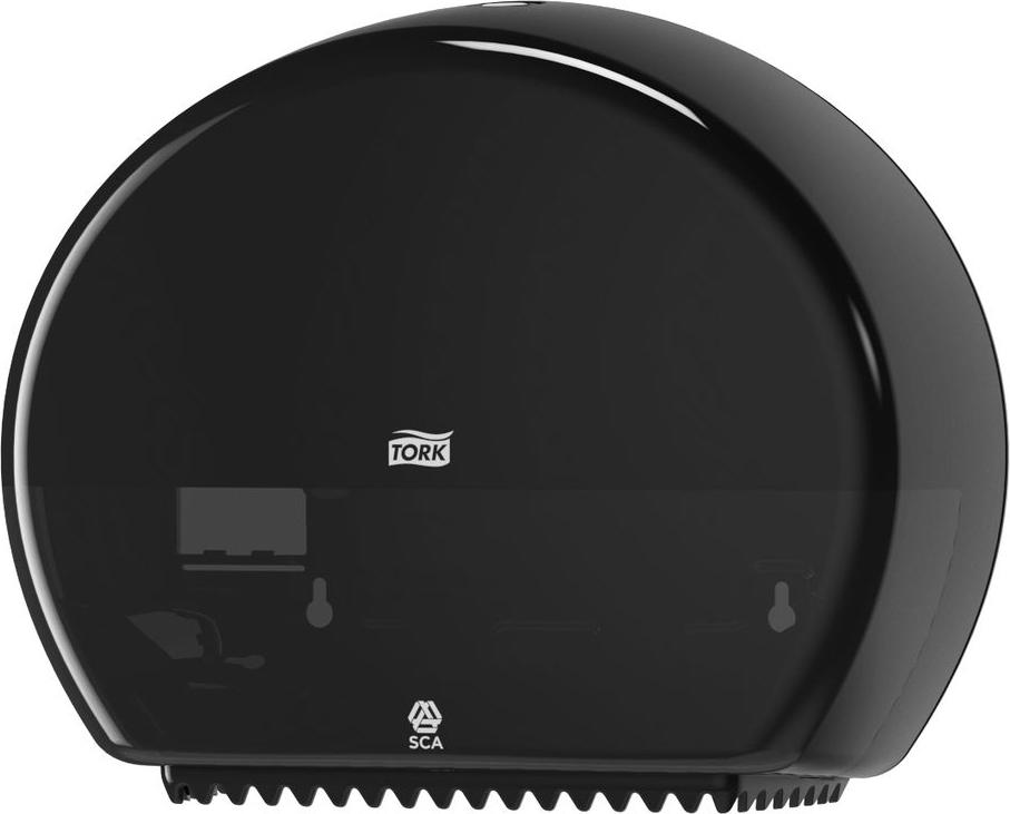 Диспенсер для туалетной бумаги Tork, цвет: черный. 555008555008Система T2 - для туалетной бумаги в мини рулонах Держатель изготовлен из ударопрочного пластика белого цвета. Функция Stub Roll позволяет сэкономить до 35 м бумаги. Снабжен специальными зубчиками, которые подходят для отрыва полотна как с перфорацией, так и без нее. Открывается двумя альтернативными способами: ключом и кнопкой. Вмещает рулон длиной до 200 метров.