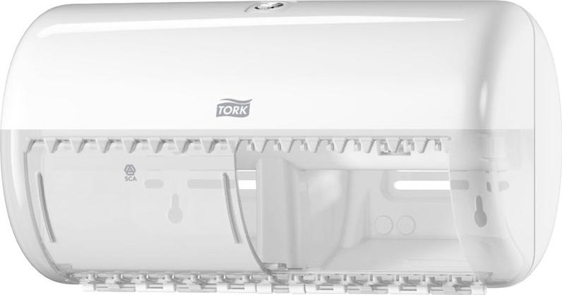 Диспенсер для туалетной бумаги Tork, цвет: белый. 557000557000Система Т4 - бумага в стандартных рулончиках.Практичный компактный диспенсер, вмещающий 2 стандартных рулона туалетной бумаги.Бумага легко отрывается с помощью удобных зубцов, даже не имея перфорации, защищается от повреждений и кражи.Диспенсер открывается с помощью ключа или нажатием на кнопку.В комплект входит инструкция по заправке и использованию.