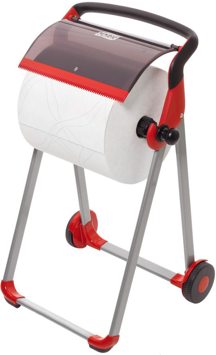 Диспенсер для туалетной бумаги Tork, цвет: красный. 652008652008Держатель для протирочных материалов Tork.Напольный держатель оснащен колёсной базой для более лёгкого перемещения, устойчивый и прочный каркас.Быстро и легко менять расходный материал.