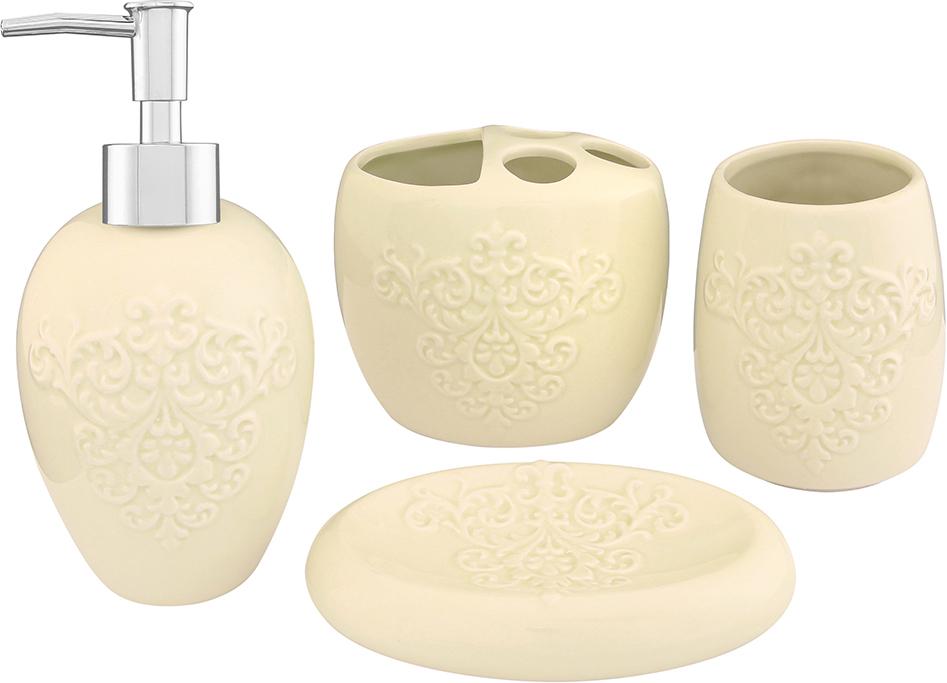 """Набор для ванной комнаты """"Elan Gallery"""" включает стакан, подставку для зубных щеток, мыльницу и диспенсер для жидкого мыла с дозатором. Набор выполнен из керамики  высокого качества.  Все элементы выдержаны в одном стиле, что позволяет создать в ванной комнате стильный и оригинальный функционально- декоративный ансамбль. Такой набор аксессуаров придаст интерьеру вашей ванной комнаты элегантность и современность.  Размер мыльницы: 14,5 х 9,5 х 3,5 см.  Размер стакана: 8 х 8 х 11 см.  Размер подставки для щеток: 11,5 х 8 х 10 см.  Размер диспенсера: 9 х 9 х 19 см. Объем диспенсера: 400 мл."""