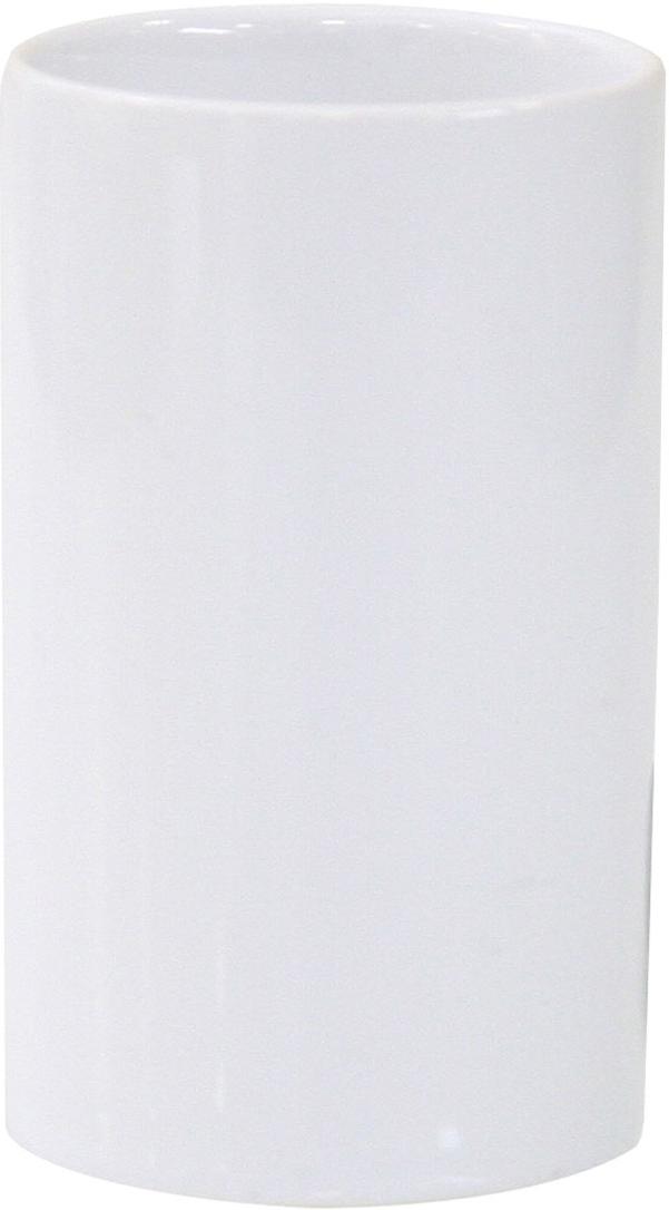 """Стакан для зубных щеток Axentia """"Bianco"""" изготовлен из натуральной и элегантной керамики  белого цвета. Изделие превосходно дополнит  интерьер ванной комнаты, отлично сочетается с другими аксессуарами из коллекции """"Bianco"""". Высота стакана: 11 см. Диаметр стакана (по верхнему краю): 6,5 см."""