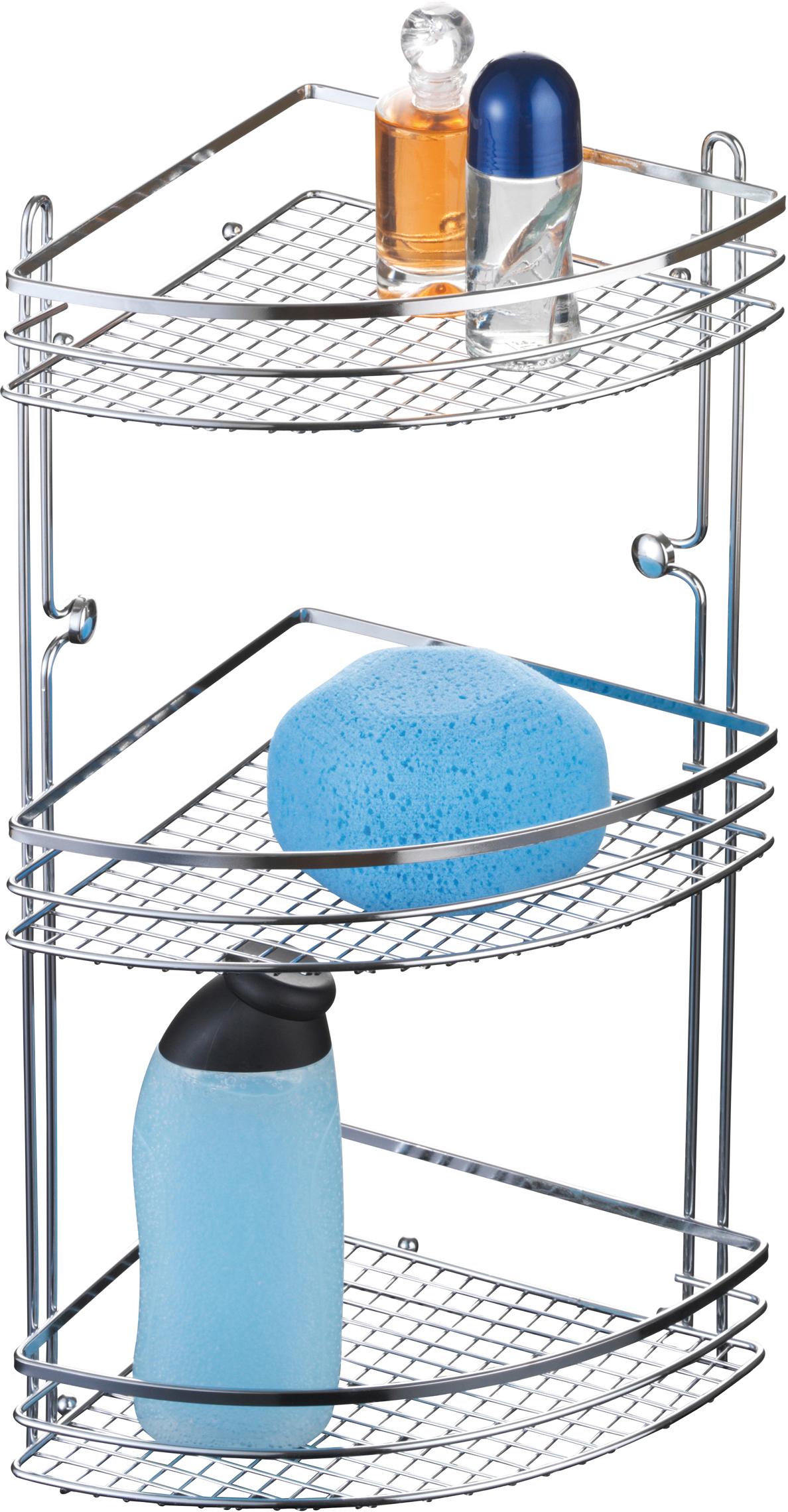 Полка для ванной Axentia Cassandra, угловая, трехъярусная, 20 х 28 х 46 см280869Трехъярусная полка для ванной Axentia Cassandra изготовлена из стали с качественным хромированным покрытием, которое на долго защитит изделие от ржавчины в условиях высокой влажности в ванной комнате. Изделие крепится на стену с помощью шурупов (входят в комплект). Классический дизайн и оптимальная вместимость подойдет для любого интерьера ванной комнаты или кухни.Размер полки: 20 х 28 х 46 см.