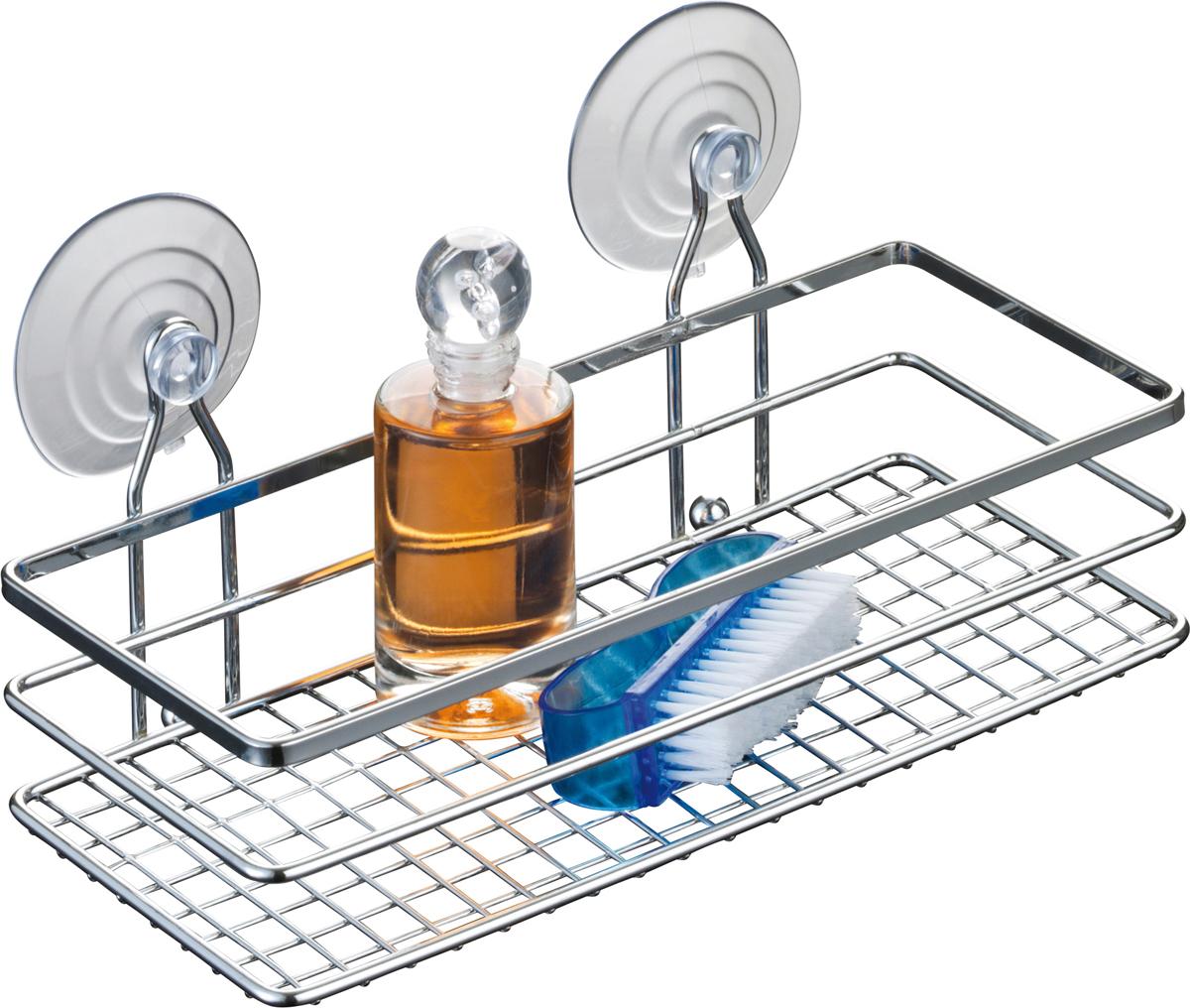 """Одноярусная настенная полка для ванной Axentia """"Cassandra"""" изготовлена из высококачественной хромированной стали, устойчивой к коррозии в условиях высокой влажности в ванной комнате. Изделие крепится к стене на шурупах или присосках (входят в комплект). Классический дизайн и оптимальная вместимость подойдет для любого интерьера ванной комнаты."""