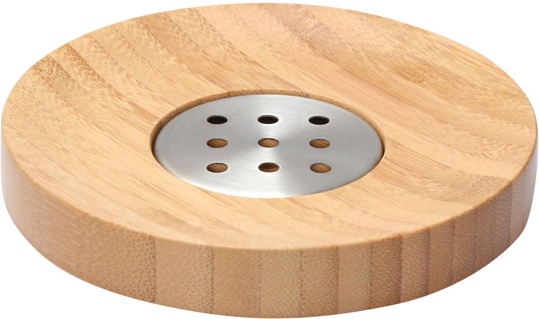 Мыльница Axentia Bonja, диаметр 12,5 см282332Мыльница Axentia Bonja изготовлена из натурального экологически чистого бамбука, устойчивого к повышенной влажности, с элементами из нержавеющей стали. Отлично сочетается с другими аксессуарами из коллекции Bonja.Диаметр мыльницы: 12,5 см.Высота мыльницы: 2 см.