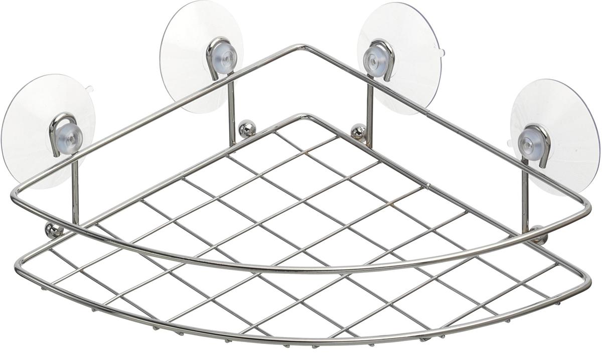 Полка для ванной Top Star, угловая, одноярусная, на присосках, 20 х 20 х 8 см702684Полка для ванной Top Star изготовлена из стали с качественным хромированным покрытием, которое на долго защитит изделие от ржавчины в условиях высокой влажности в ванной комнате. Изделие имеет угловую конструкцию и крепится на четырех вакуумные присоски(входят в комплект). Классический дизайн и оптимальная вместимость подойдет для любого интерьера ванной комнаты или кухни.