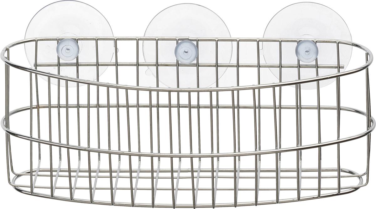 """Настенная корзинка для ванной комнаты """"Top Star"""" изготовлена из высококачественной хромированной стали, устойчивой к высокой влажности. Глубокая корзинка овальной формы отлично подойдет для хранения тюбиков гелей для душа, шампуней, мочалок и прочего. Изделие крепится к стене с помощью присосок (входят в комплект)."""