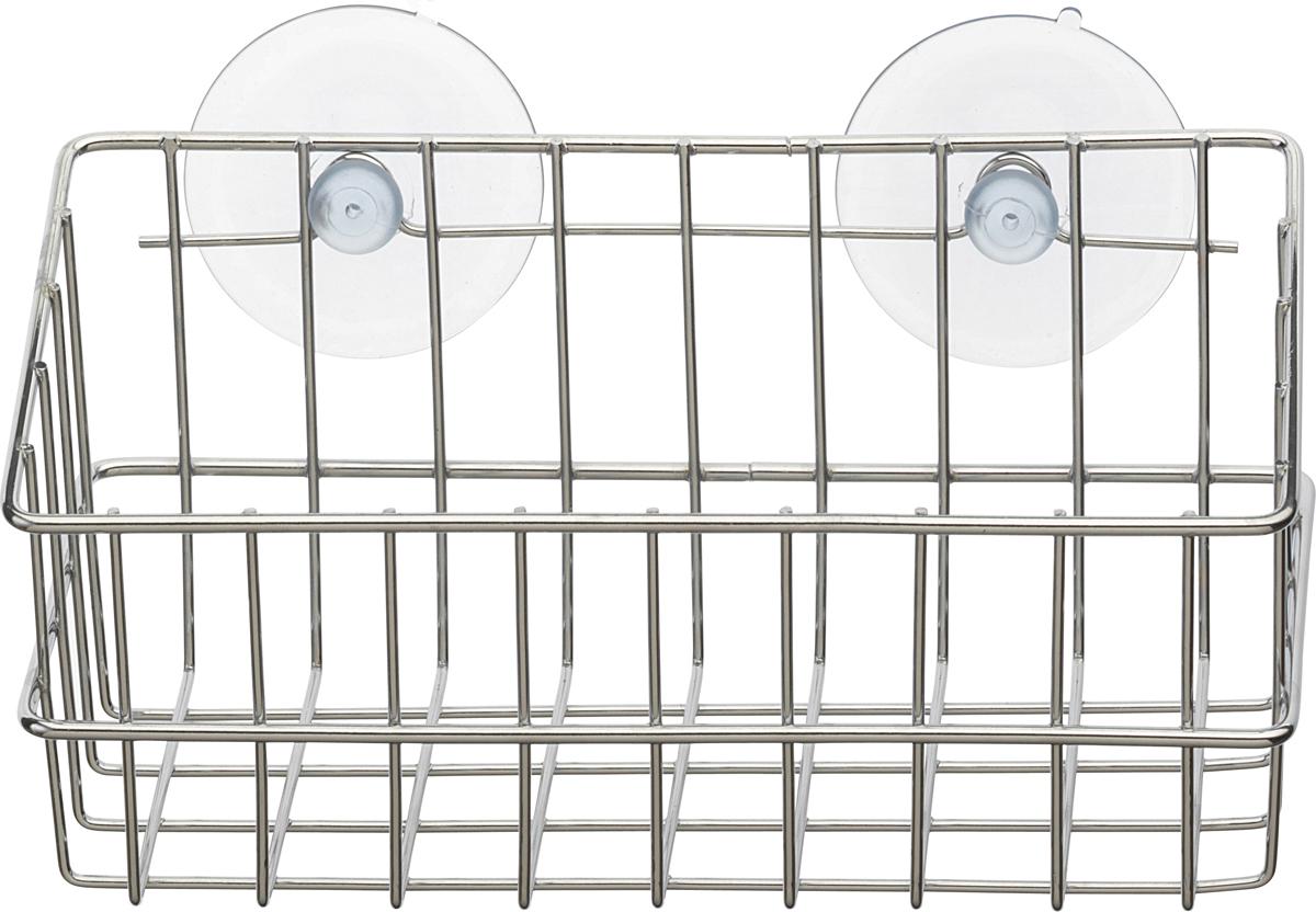 """Настенная корзинка для ванной комнаты """"Top Star"""" изготовлена из высококачественной хромированной стали, устойчивой к высокой влажности. Глубокая корзинка прямоугольной формы отлично подойдет для хранения тюбиков гелей для душа, шампуней, мочалок и прочего. Изделие крепится к стене с помощью присосок (входят в комплект)."""