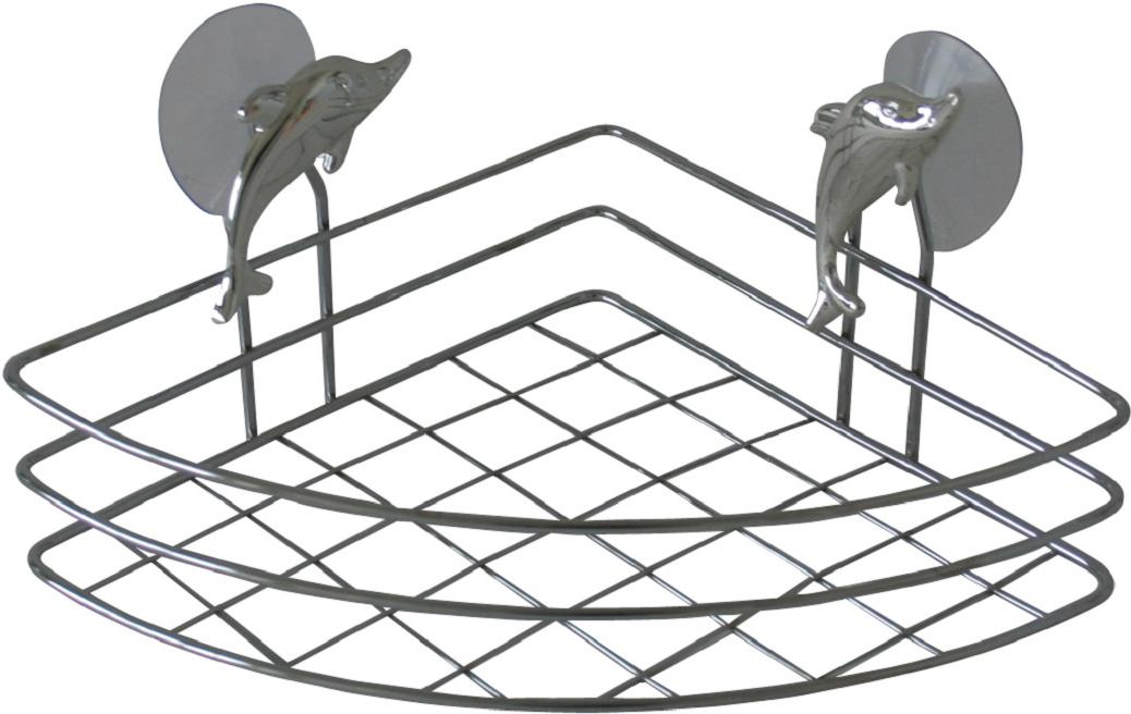 Полка Top Star Silver Dolphin, угловая, одноярусная, цвет: хром, 18 х 18 х 6,5 см291322Полка для ванной настенная угловая одноярусная на 2-х присосках с декором серебристый дельфин. Выдерживает вес до 3-х килограмм. Прекрасно подходит для хранения тюбиков гелей для душа, шампуней, мочалок и др. Изготовлена из высококачественной хромированной стали, устойчивой к высокой влажности. Отлично сочетается с другими аксессуарами из коллекции Silver Dolphin.