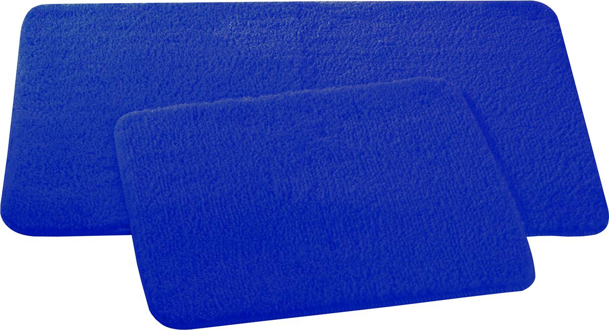 Набор ковриков для ванной и туалета Axentia, цвет: синий, 2 шт116133Набор Axentia, выполненный из микрофибры (100% полиэстер), состоит из двух стеганых ковриков для ванной комнаты и туалета. Противоскользящее основание изготовлено из термопластичной резины и подходит для полов с подогревом. Коврики мягкие и приятные на ощупь, отлично впитывают влагу и быстро сохнут. Высокая износостойкость ковриков и стойкость цвета позволит вам наслаждаться покупкой долгие годы. Можно стирать в стиральной машине. Размер ковриков: 50 х 80 см; 50 х 40 см.Высота ворса 1,5 см.