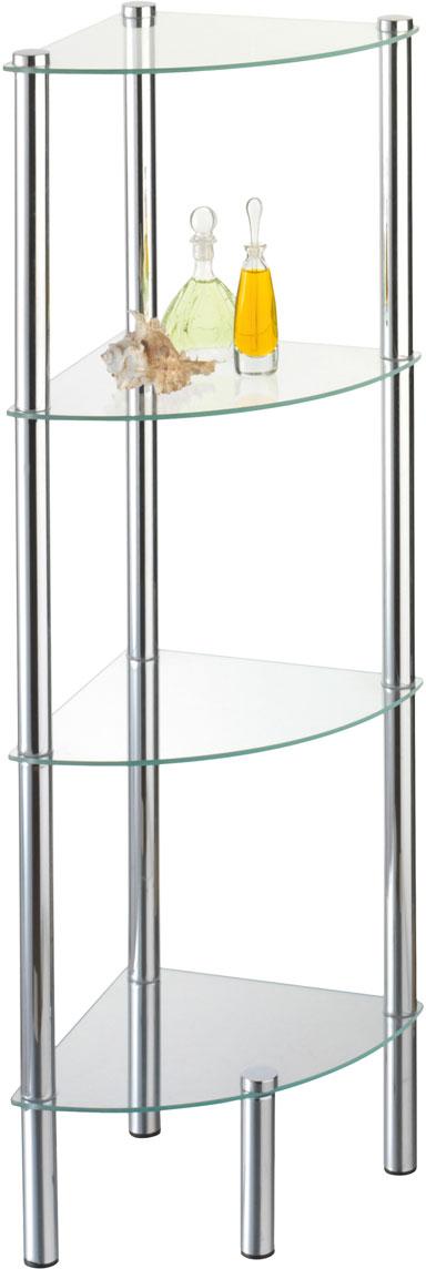 Стойка для ванной Axentia, 4-ярусная, угловая282134Стойка Axentia с 4 стеклянными полками выполнена из стали и предназначена для хранения различных предметов в ванной комнате.Очень удобная и компактная, но в тоже время вместительная, она прекрасно впишется в пространство ванной.