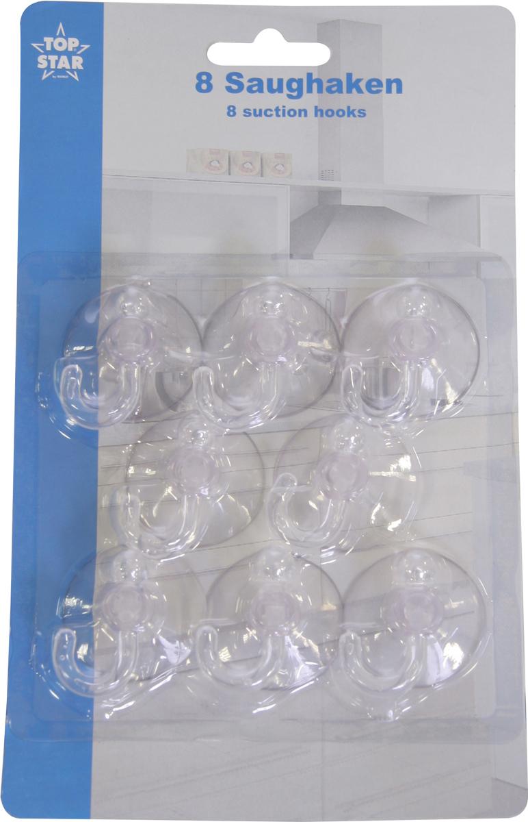 """Набор """"Top Star"""" состоит из 8 универсальных пластиковых крючков. Такие крючки идеальны при использовании в ванной комнате, туалете или на кухне. Изделия крепятся на стену с помощью присосок (входят в комплект). Крючки позволяют подвешивать мочалки, легкие предметы одежды, кухонные полотенца, прихватки и прочие полезные вещи. Вы можете перевешивать крючки столько раз, сколько захотите. Для качественного крепления перед установкой поверхность необходимо тщательно очистить и обезжирить."""