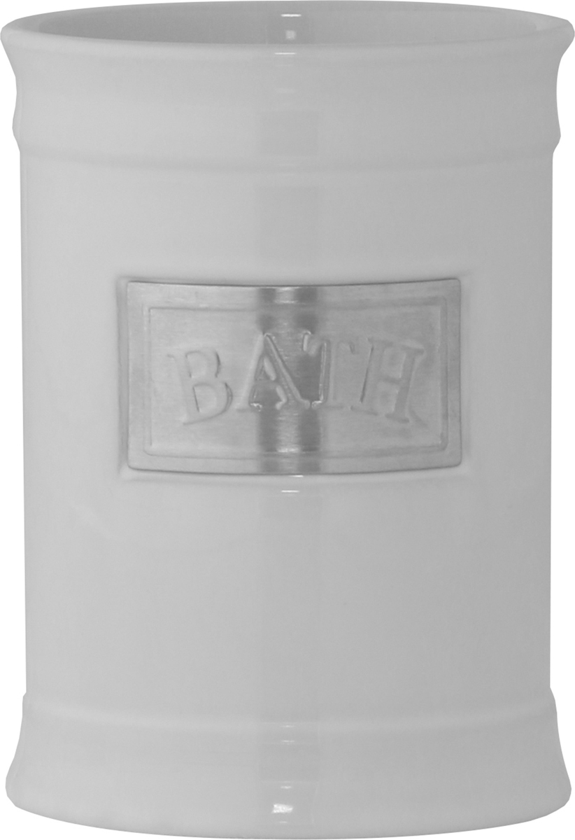 """Стакан для ванной комнаты Axentia """"Lyon"""" выполнен из белоснежной керамики с элементами из нержавеющей стали в античном стиле. Изделие отлично подойдет для любого интерьера ванной комнаты.Высота стакана: 11,5 см.Диаметр стакана (по верхнему краю): 8,5 см."""
