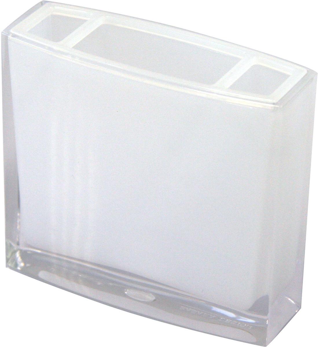 """Стакан для зубных щеток Axentia """"Priamos"""" изготовлен из высококачественного акрила белого цвета. Изделие превосходно дополнит интерьер ванной комнаты, отлично сочетается с другими аксессуарами из коллекции """"Priamos"""". Размеры стакана: 10,5  х 9,5 х 3 см."""
