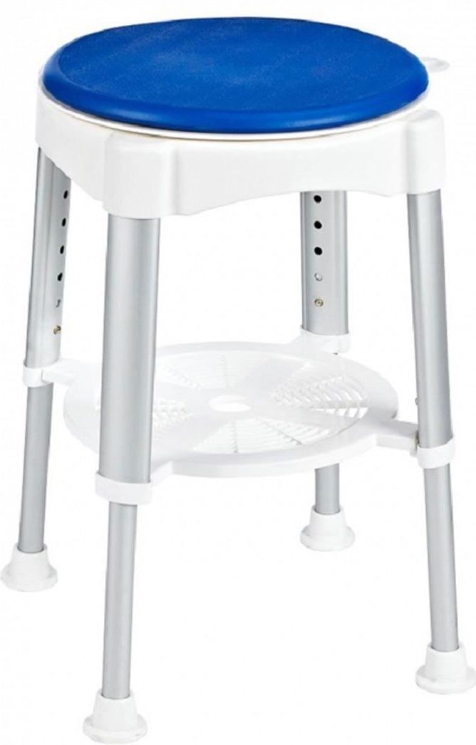 """Высококачественный немецкий табурет в ванную с регулируемой высотой разработан и запатентован компанией Ridder. В посадочной части расположен вращающийся элемент (360°), фиксация каждые четверть оборота. Конструкция снабжена резиновыми накладками для минимизации скольжения по полу.Серия """"Assistent"""" создана для комфорта и безопасности, в том числе пожилых людей и лиц с ограниченными возможностями. Не содержит токсичных веществ. Безопасность изделия соответствует стандартам LGA (Германия). Компания Ridder предоставляет на свою продукцию гарантию качества 3-5 лет.Состав: анодированный алюминий, пластик, поворотная часть - пенополиуретан. Диаметр посадочной части: 35,5 см.Высота табурета: 41,5-58 см.Максимальная нагрузка: 150 кг."""
