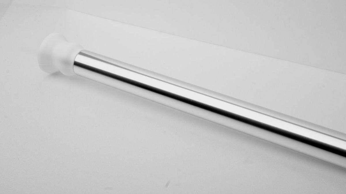 Штанга для ванной комнаты Ridder, телескопическая, цвет: хром, диаметр 2,5 см, длина 110-245 см55300Штанга для ванной комнаты Ridder - это не только аксессуар для штор, но и элемент декора. Изделие выполнено из спрессованного алюминия, на который нанесено специальное покрытие для предотвращения царапин. Устанавливается в распор между двумя стенами в ванных комнатах и любых других помещениях. Для установки штанги не требуются какие-либо крепежные элементы и дополнительные инструменты. Она фиксируется благодаря стержневой пружине. При необходимости легко снимается и может использоваться многократно.Оригинальная и стильная штанга дополнит интерьер вашей ванной комнаты.Длина карниза: 110-245 см. Диаметр карниза: 2,5 см.