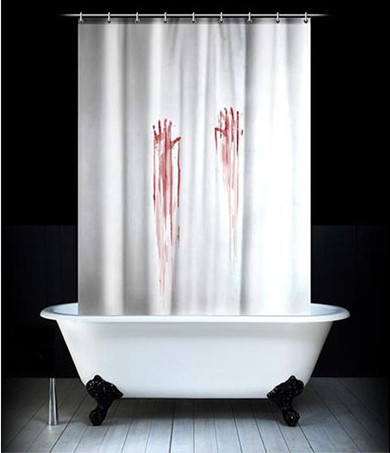 Штора для ванной комнаты Эврика Кровавая, 180 х 180 см97097Забавная штора Эврика Кровавая, изготовленная из качественного водонепроницаемого полиэстера, сделает простую гигиеническую процедуру гораздо более интригующей. Отличный подарок для людей, не обделённых чувством юмора.В комплект входят пластиковые петли для крепления на карнизе или шнуре.