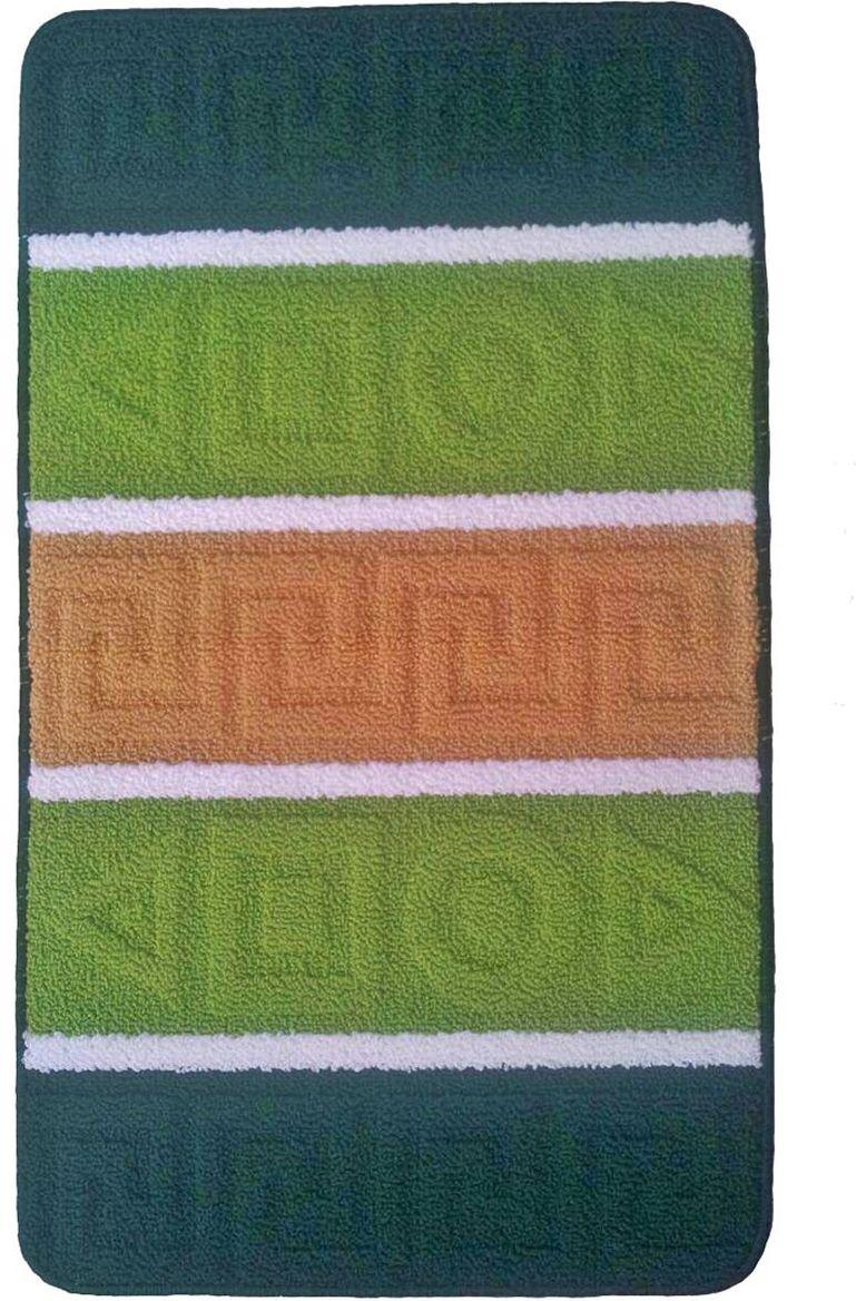Коврик для ванной Kamalak Tekstil, цвет: зеленый, 60 см x 100 см. УКВ-1006УКВ-1006Коврик для ванной Kamalak Tekstil выполнен из полипропилена. Ковер обладает хорошими показателями теплостойкости и шумоизоляции. Является гиппоалергенным. За счет невысокого ворса ковер легко чистить. Практичный и устойчивый к износу ворс - от постоянного хождения не истирается, не накапливает статическое электричество. Структура волокна в полипропиленовых моделях гладкая, поэтому грязь не может выесться, на ворсе она скапливается с трудом. Полипропилен не впитывает влагу, отталкивает водянистые пятна.Уход: Самый простой способ избавить изделие от грязи – пропылесосить его с обеих сторон (лицевой и изнаночной).Влажная уборка с применением шампуней и моющих средств не противопоказана. Если шерсти и шёлку универсальные чистящие составы не подходят, то для синтетики они придутся в самый раз.Хранить их нужно рулоном, не складывая «салфеткой».При надлежащем уходе синтетический ковёр прослужит долго, не утратив ни яркости узора, ни блеска ворса, ни его упругости.