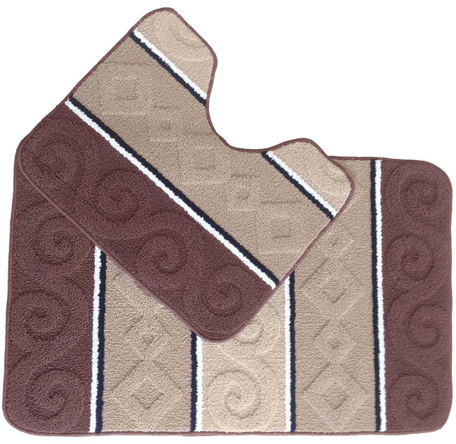 Набор ковриков для ванной комнаты Kamalak Tekstil, цвет: коричневый, 2 шт. УКВ-1032УКВ-1032Ковры-паласы выполнены из полипропилена. Ковры обладают хорошими показателями теплостойкости и шумоизоляции. Являются гиппоалергенными. За счет невысокого ворса ковры легко чистить.Вам придется по душе широкая гамма цветов и возможность гармонично оформить интерьер. Практичный и устойчивый к износу ворс - от постоянного хождения не истирается, не накапливает статическое электричество. Структура волокна в полипропиленовых моделях гладкая, поэтому грязь не может въесться, на ворсе она скапливается с трудом. Полипропилен не впитывает влагу, отталкивает водянистые пятна. Уход: самый простой способ избавить изделие от грязи - пропылесосить его с обеих сторон (лицевой и изнаночной).Влажная уборка с применением шампуней и моющих средств не противопоказана. При надлежащем уходе синтетический ковёр прослужит долго, не утратив ни яркости узора, ни блеска ворса, ни его упругости.
