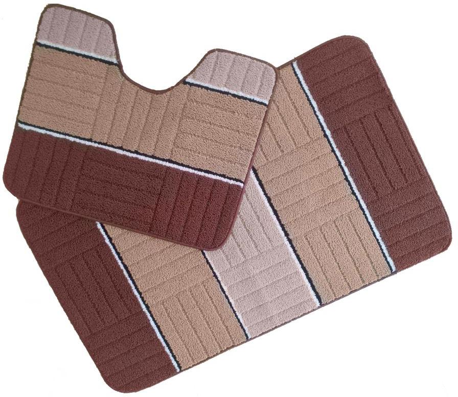 Набор ковриков для ванной комнаты Kamalak Tekstil, цвет: коричневый, 2 шт. УКВ-1018УКВ-1018Ковры-паласы Kamalak Tekstil выполнены из полипропилена. Ковры обладают хорошими показателями теплостойкости и шумоизоляции. Являются гиппоалергенными. За счет невысокого ворса ковры легко чистить. Вам придется по душе широкая гамма цветов и возможность гармонично оформить интерьер. Практичный и устойчивый к износу ворс - от постоянного хождения не истирается, не накапливает статическое электричество. Структура волокна в полипропиленовых моделях гладкая, поэтому грязь не может въесться, на ворсе она скапливается с трудом. Полипропилен не впитывает влагу, отталкивает водянистые пятна. Уход: Самый простой способ избавить изделие от грязи - пропылесосить его с обеих сторон (лицевой и изнаночной). Влажная уборка с применением шампуней и моющих средств не противопоказана. Если шерсти и шёлку универсальные чистящие составы не подходят, то для синтетики они придутся в самый раз. Хранить их нужно рулоном, не складывая салфеткой.При надлежащем уходе синтетический ковёр прослужит долго, не утратив ни яркости узора, ни блеска ворса, ни его упругости.