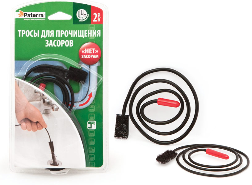 Трос для прочищения засоров Paterra, 2 шт402-454Трос для прочищения засоров Paterra - это быстрый способ избавиться от засоров в трубах. Изделие, выполненное из ПВХ, ABS-пластика, будет незаменимым в ванных комнатах, когда всливах раковин, душевых кабин и ванн скапливается большое количество волос, ниток и многодругого. Оптимальная длина троса позволяет добраться до самых труднодоступных мест.Липучка на конце троса надежно захватывает загрязнение и мгновенно прочищает стоки. В комплекте 2 троса, а также предусмотрен самоклеящийся крючок для хранения, которыйфиксирует изделие на дверце шкафчика. Длина троса: 70 см.