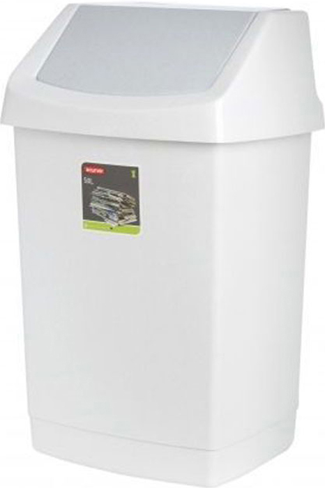 Контейнер для мусора Curver Клик-ит, цвет: светло-серый, 50 л пакеты для мусора curver 130л 10шт 1115293