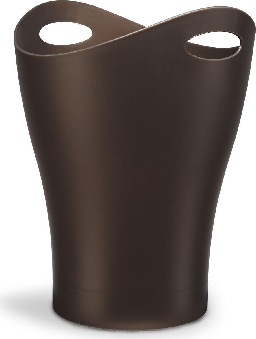"""Umbra """"Garbino"""" - объемная корзина для бумаг из литого глянцевого пластика с двумя удобными ручками для переноски. Благодаря современному лаконичному дизайну Umbra """"Garbino"""" часто используют в качестве вазы для цветов или ведерка со льдом для охлаждения напитков. Дизайн контейнера разработал Карим Рашид. Данная модель находится в постоянной экспозиции музея современного искусства MoMa в Нью-Йорке.Объем: 9 л."""