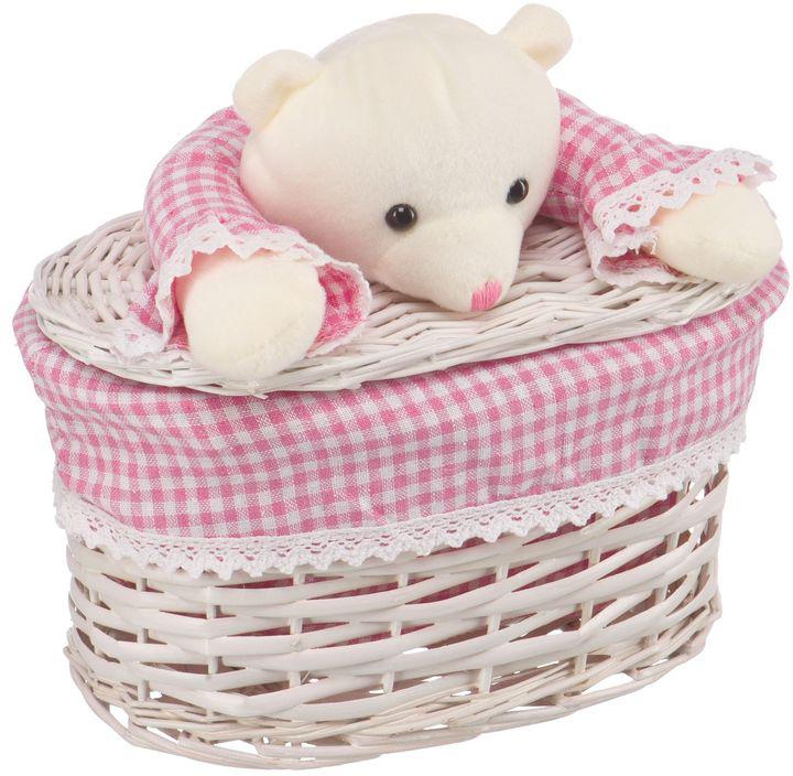 """Корзина для белья Natural House """"Медвежонок"""", цвет: молочный, розовый, 26 x 15 x 16 см"""