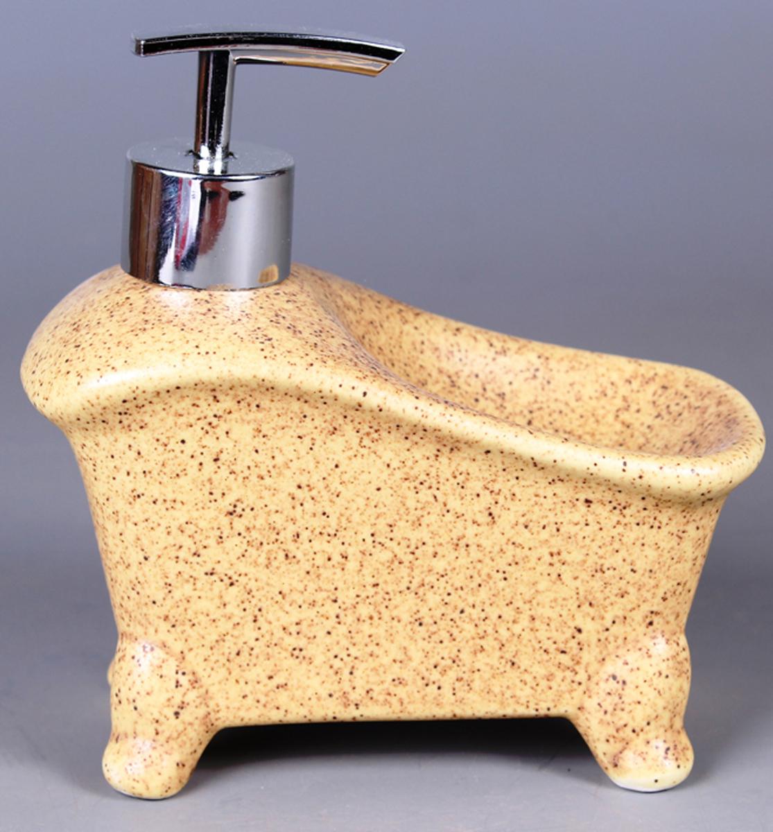 Дозатор для жидкого мыла Elrington, с подставкой для губки. FJH-10771-A201FJH-10771-A201Дозатор для жидкого мыла Elrington, изготовленный из керамики и металла, отлично подойдет для вашей ванной комнаты. Такой аксессуар очень удобен в использовании, достаточно лишь перелить жидкое мыло в дозатор, а когда необходимо использование мыла, легким нажатием выдавить нужное количество. Также изделие оснащено подставкой под губку.Дозатор для жидкого мыла Elrington создаст особую атмосферу уюта и максимального комфорта в ванной.