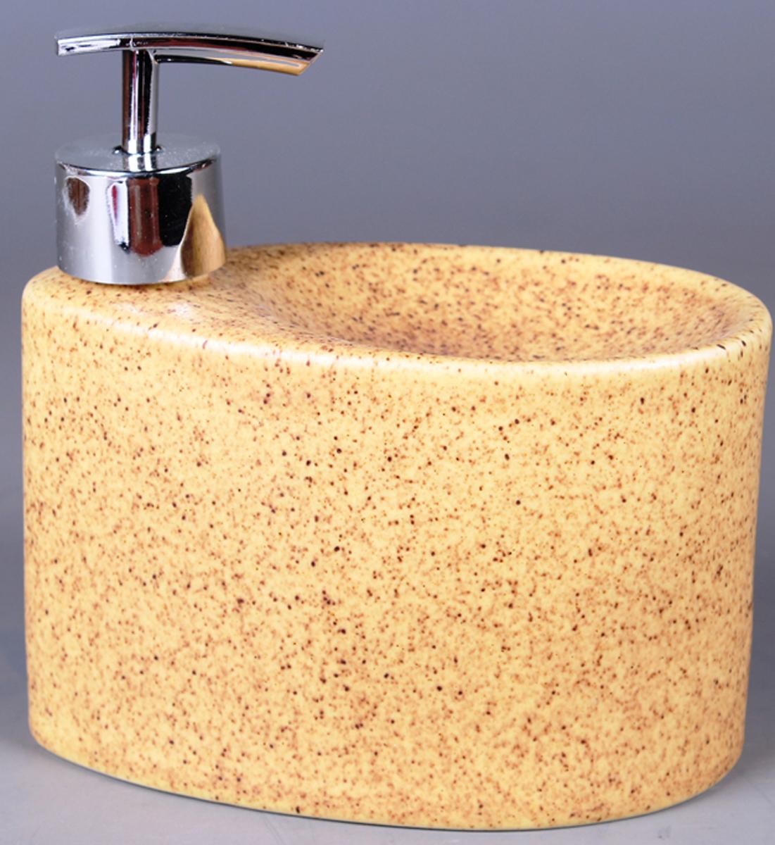 Дозатор для жидкого мыла Elrington, с подставкой для губки. FJH-10772-A201FJH-10772-A201Дозатор для жидкого мыла Elrington, изготовленный из керамики и металла, отлично подойдет для вашей ванной комнаты. Такой аксессуар очень удобен в использовании, достаточно лишь перелить жидкое мыло в дозатор, а когда необходимо использование мыла, легким нажатием выдавить нужное количество. Также изделие оснащено подставкой под губку.Дозатор для жидкого мыла Elrington создаст особую атмосферу уюта и максимального комфорта в ванной.