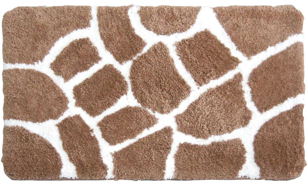 Коврик для ванной Iddis Safari Friends, цвет: коричневый, 50 х 80 см570M580i12Коврик для ванной комнаты Iddis выполнен из 100% полиэстера. Коврик имеет специальную латексную основу, благодаря которой он не скользит на напольных покрытиях в ванной, что обеспечивает безопасность во время использования. Коврик изготавливается по специальным технологиям машинного ручного тафтинга, что гарантирует высокое качество и долговечность.Высота ворса: 2,5 см.