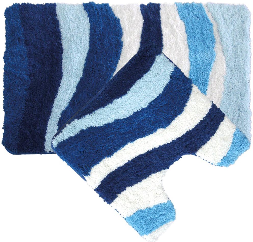Набор ковриков для ванной Iddis Blue Wave, цвет: синий, 50 х 80 см, 50 х 50 см, 2 шт набор ковриков для ванной iddis beige landscape цвет бежевый 60 х 90 см 50 х 50 см 2 шт