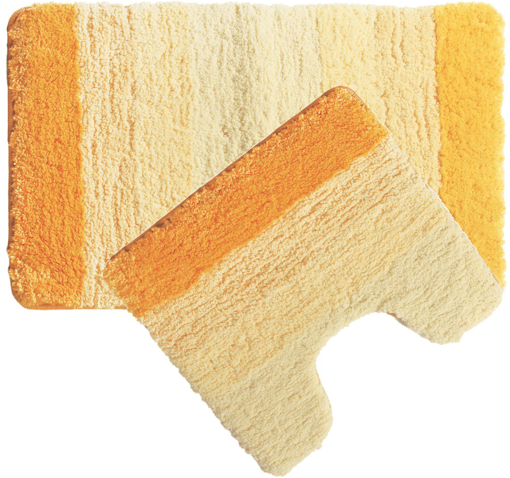 Набор ковриков для ванной Iddis Yellow Gradiente, цвет: оранжевый, 50 х 80 см, 50 х 50 см, 2 шт551M580i13Набор ковриков для ванной комнаты и туалета Iddis выполнен из 100% полиэстера (микрофибра). Коврики имеют специальную латексную основу, благодаря которой они не скользят на напольных покрытиях в ванной, что обеспечивает безопасность во время использования. Коврики изготавливаются по специальным технологиям машинного ручного тафтинга, что гарантирует высокое качество и долговечность.Высота ворса: 2,5 см.