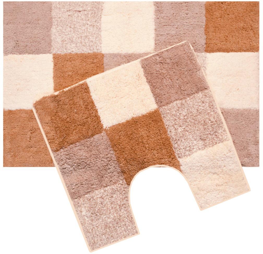 Набор ковриков для ванной Iddis Hopscotch, цвет: бежевый, 50 х 80 см, 50 х 50 см, 2 шт