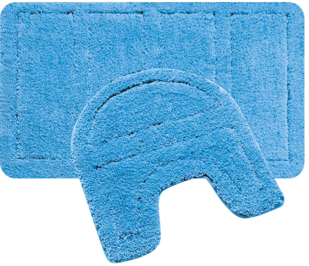 Набор ковриков для ванной Iddis Blue Landscape, цвет: синий, 60 х 90 см, 50 х 50 см, 2 шт набор ковриков для ванной iddis beige landscape цвет бежевый 60 х 90 см 50 х 50 см 2 шт