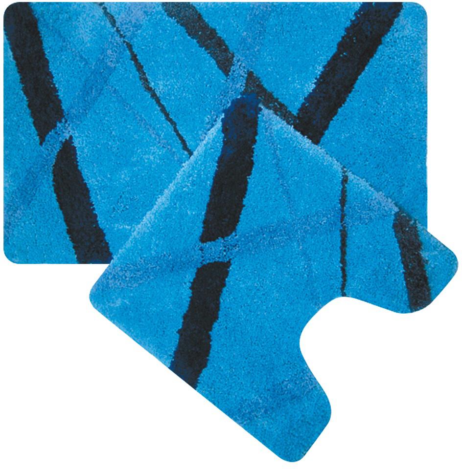 Набор ковриков для ванной Iddis Blue Rain, цвет: синий, 50 х 80 см, 50 х 50 см, 2 шт набор ковриков для ванной iddis beige landscape цвет бежевый 60 х 90 см 50 х 50 см 2 шт